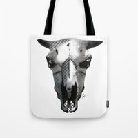 animal skull Tote Bags featuring Animal Skull by K_Leigh_J
