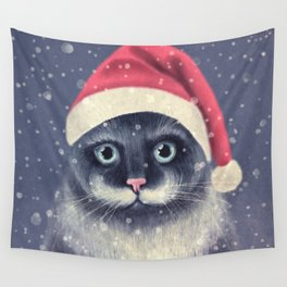 Christmas cat with a mustache Wall Tapestry