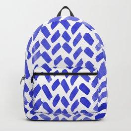 Cute watercolor knitting pattern - blue Backpack