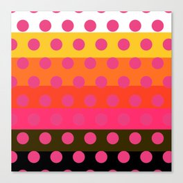 Earth and Summer Sky - Color Strips with Pink Dots Canvas Print