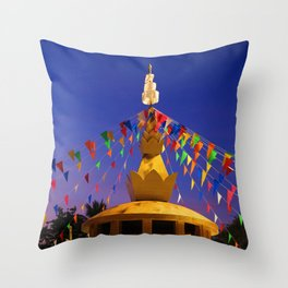 Colorful flags decorated the pagoda Throw Pillow