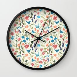 Origami insects and paper cut flowers Wall Clock