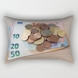 Euro Coins and Bills Rectangular Pillow