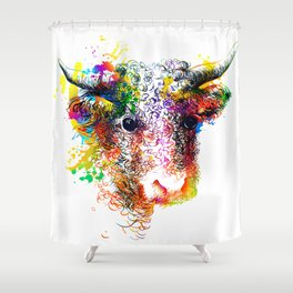 Hand drawn bull, cow, bison, buffalo head face portrait with horns. Colorful cattle painting sketch Shower Curtain