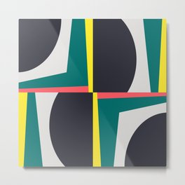 Modern Geometric 65 Green Metal Print