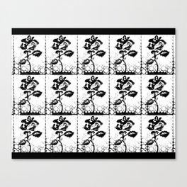 Rose Stamp (White + Black) Canvas Print