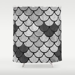 Dragon Scales with Black Outline Shower Curtain