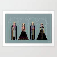 narnia Art Prints featuring Kings & Queens of Narnia by Jasmine Lee