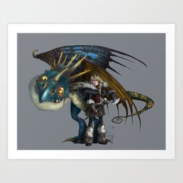 astrid & stormfly HOW TO TRAIN YOUR DRAGON 2 Art Print