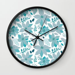 Serene Poinsettia Aqua Wall Clock