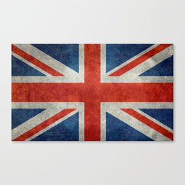"UK Union Jack flag ""Bright"" retro grungy style Canvas Print"
