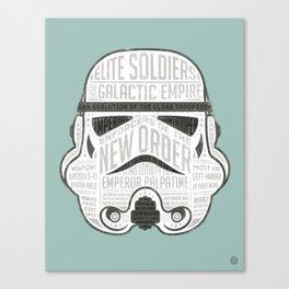 Stormtrooper typographic helmet chock full of trivia! Canvas Print