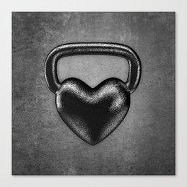 Kettlebell heart / 3D render of heavy heart shaped kettlebell Canvas Print