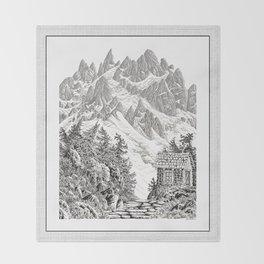 BEYOND MOUNT SHUKSAN BLACK AND WHITE VINTAGE PEN DRAWING Throw Blanket
