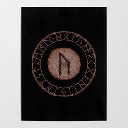 Uruz Elder Futhark Rune determination, persistence, freedom, courage, will, territoriality Poster
