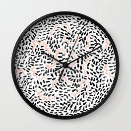 Helena - black white rose quartz abstract squiggle dot mark making painting brushstrokes minimal  Wall Clock