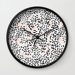 Helena - black white rose quartz abstract squiggle dot mark making painting brushstrokes minimal  Wall Clock