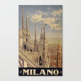 Vintage Travel Poster - Milano - Vintage Italy Travel Poster Canvas Print