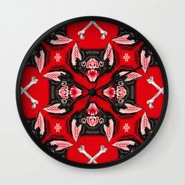 Vampire Bat Face Geometric Pattern Wall Clock