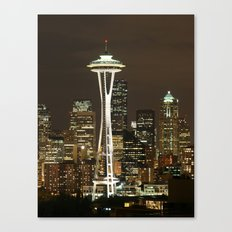Seattle Space Needle at Night - City Lights Canvas Print