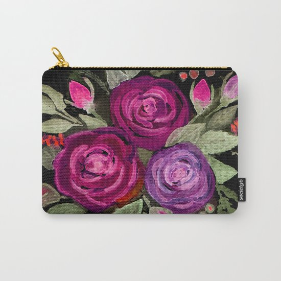 Purple roses on a black background. Watercolor . Carry-All Pouch