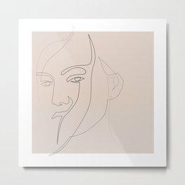 Misfaith - line face - pastel Metal Print