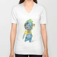 magic the gathering V-neck T-shirts featuring Zombie Token - Magic the Gathering by Deadlance