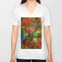 broadway V-neck T-shirts featuring Slice of Broadway by Joe Ganech