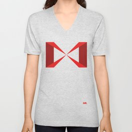 Simple Construction Red Unisex V-Neck