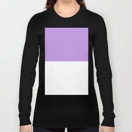White and Light Violet Horizontal Halves Long Sleeve T-shirt