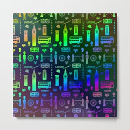 London Landmarks Digital Rainbow Hologram Metal Print