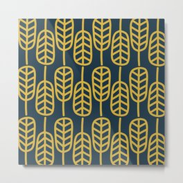 Feather Leaves Minimalist Pattern in Light Mustard and Navy Blue Metal Print