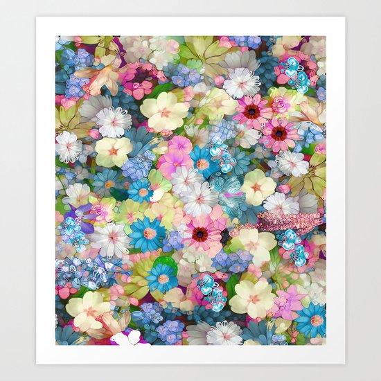 Pastels & Blue Bouquet Art Print