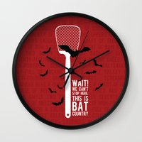 fear and loathing Wall Clocks featuring Fear and Loathing by badOdds
