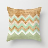 wood Throw Pillows featuring Wood by naidl