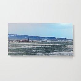 Winter in a coastal village Metal Print