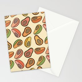 Colourful Papayas in Yellow Stationery Cards