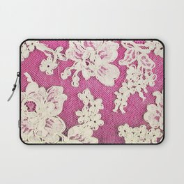 pink lace-photograph of vintage lace Laptop Sleeve