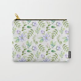 Watercolor lavender lilac green hand painted floral Carry-All Pouch