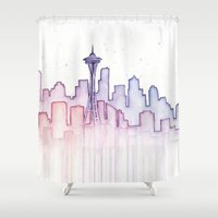seattle Shower Curtains featuring Seattle by Olechka
