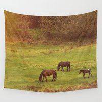 horses Wall Tapestries featuring Horses by SensualPatterns