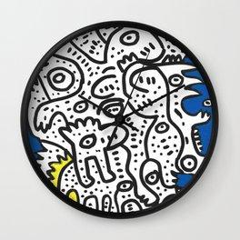 Yellow Blue Graffiti Art Doodle Black and White  Wall Clock