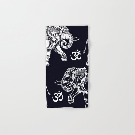 Elephants Pattern on Black Hand & Bath Towel