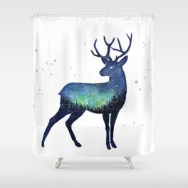 Galaxy Reindeer Silhouette with Northern Lights Shower Curtain