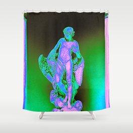 Roman Statue Glitch Art Shower Curtain