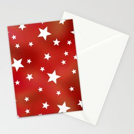 Red and White Stars Stationery Cards