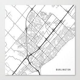 Burlington Map, Canada - Black and White Canvas Print