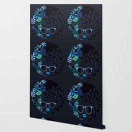 Afro Diva : Sophisticated Lady Teal Wallpaper