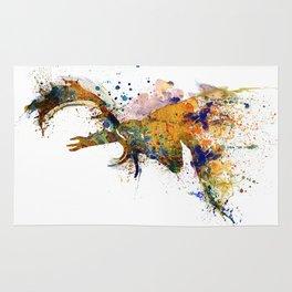 Deer Head Watercolor Silhouette Rug