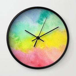 Pastel Rainbow Blur Watercolor Clouds Wall Clock